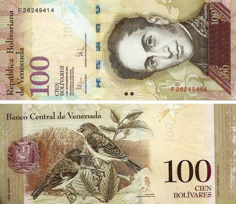 Банкнота 100 боливаров 2013 год, Венесуэла. UNC