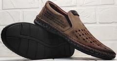 Кожаные мужские туфли мокасины на толстой подошве smart casual стиль летние Luciano Bellini 91737-S-307 Coffee.