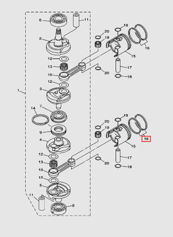 Комплект поршневых колец  STD для лодочного мотора T40 Sea-PRO (3-16)