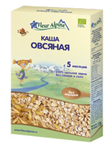 Каша Fleur Alpine Organic овсяная гипоаллергенная безмолочная