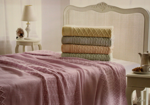 Покрывало вязаное 2-спальное Tivolyo home LUNA 230х250 см розовое