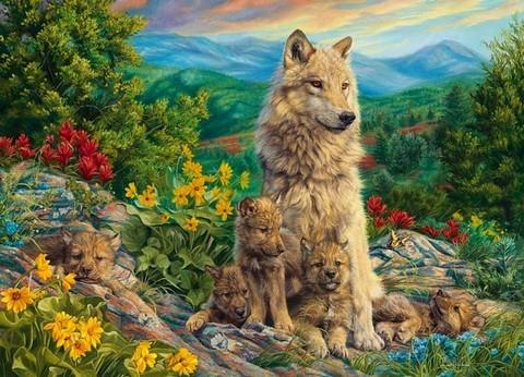 Алмазная Мозаика 30x40 Собака с щенками в горах
