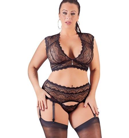 Кружевной эротичный комплект с подвязками (BS)