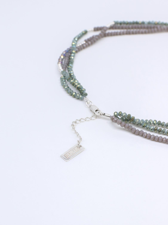 Браслет многослойный с зелёным и серым хрусталём и серебром  оптом и в розницу