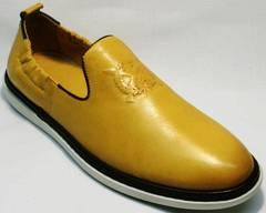 Стильные мужские туфли комфорт King West 053-1022 Yellow-White.