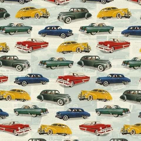 Бумага декоративная подарочная Ретро автомобили