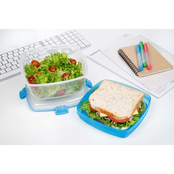 """Контейнер для салата и сэндвичей Sistema """"TO GO"""" 1,63 л, цвет Голубой"""