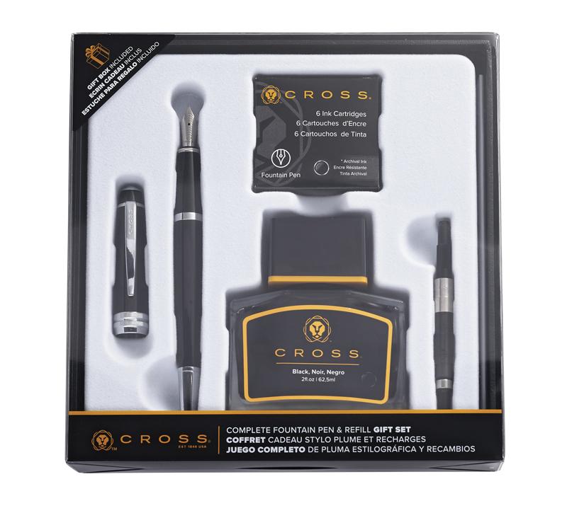 Набор подарочный Cross Bailey - Black Lacquer, перьевая ручка + конвертер + 6 картриджей + чернила