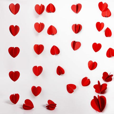 Гирлянда-подвеска Сердца, Красный, 200 см