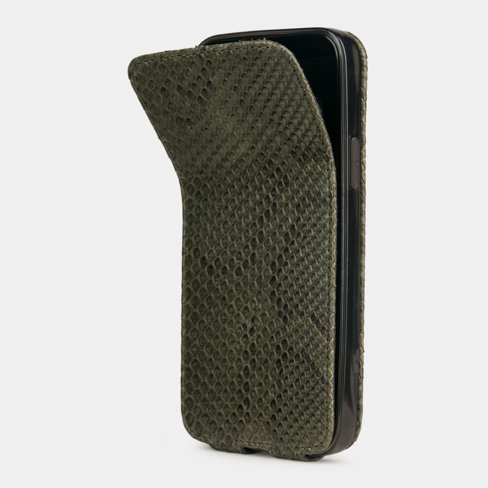 Чехол для iPhone 12/12Pro из натуральной кожи питона, зеленого цвета