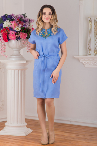 Платье льняное Росинка