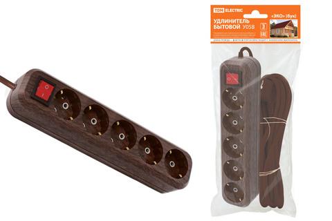 Удлинитель бытовой  У05В выключатель, 5 гнезд, 3метра,2П+3, ПВС 3х1мм2