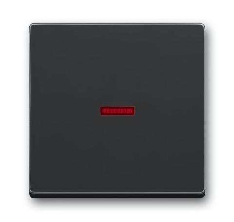 Клавиша одноклавишного выключателя/переключателя/кнопки с красной линзой. Цвет Антрацит. ABB (АББ). 1751-0-2928