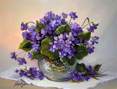 Алмазная Мозаика 30x40 Букет фиолетовых цветов в круглой вазе