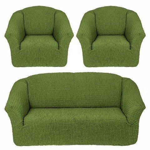 Комплект чехлов для дивана и двух кресел фисташковый без оборки.