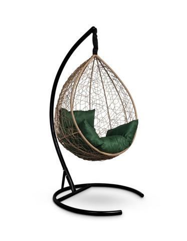 Подвесное кресло-кокон SEVILLA горячий шоколад + каркас + зеленая подушка
