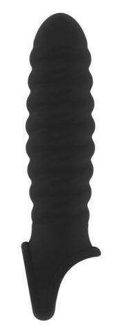 Чёрная ребристая насадка Stretchy Penis Extension No.32