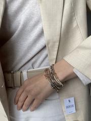 Браслет многослойный из коричневого хрусталя с серебром  оптом и в розницу