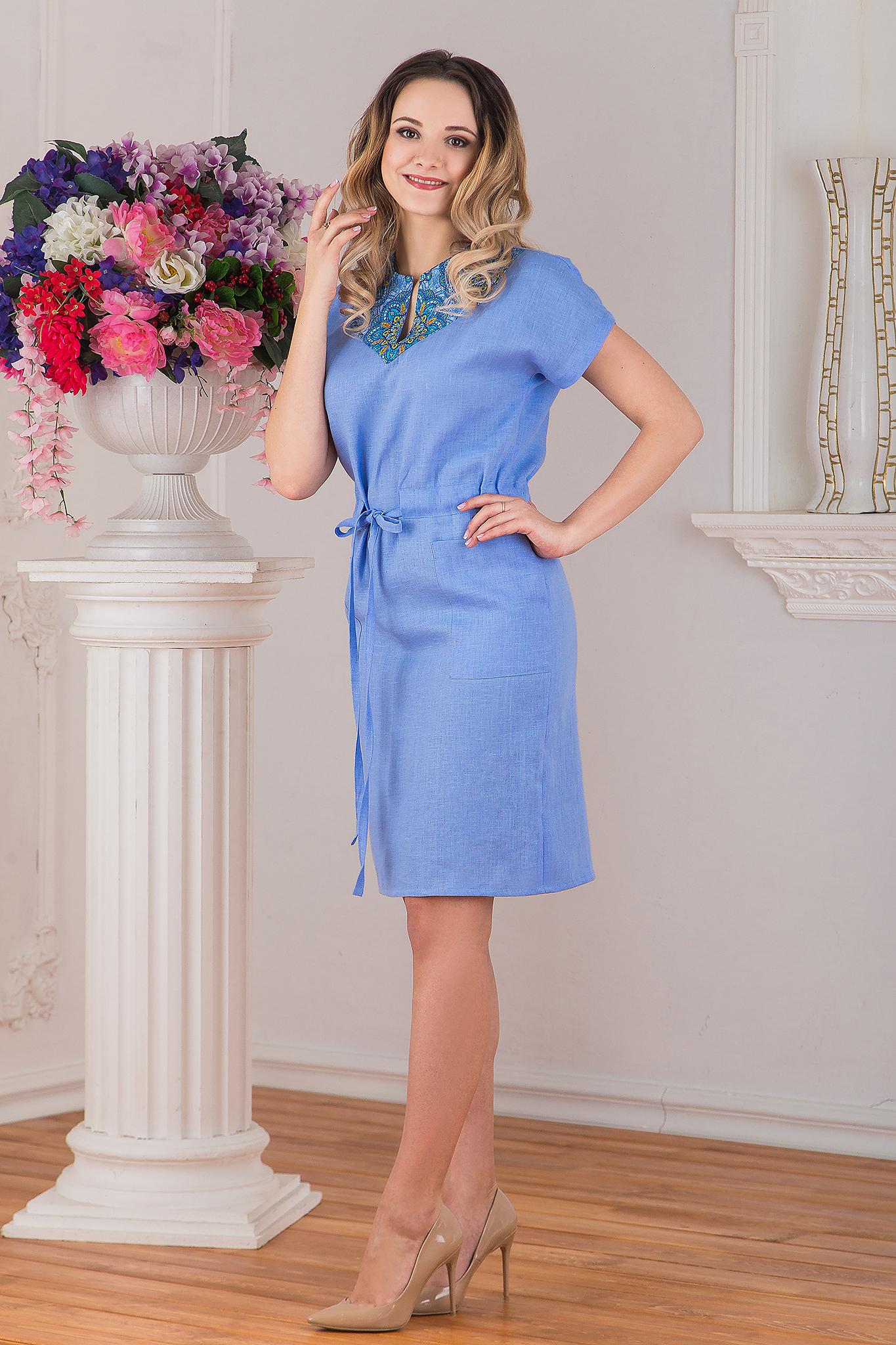 Платье льняное Росинка вид сбоку