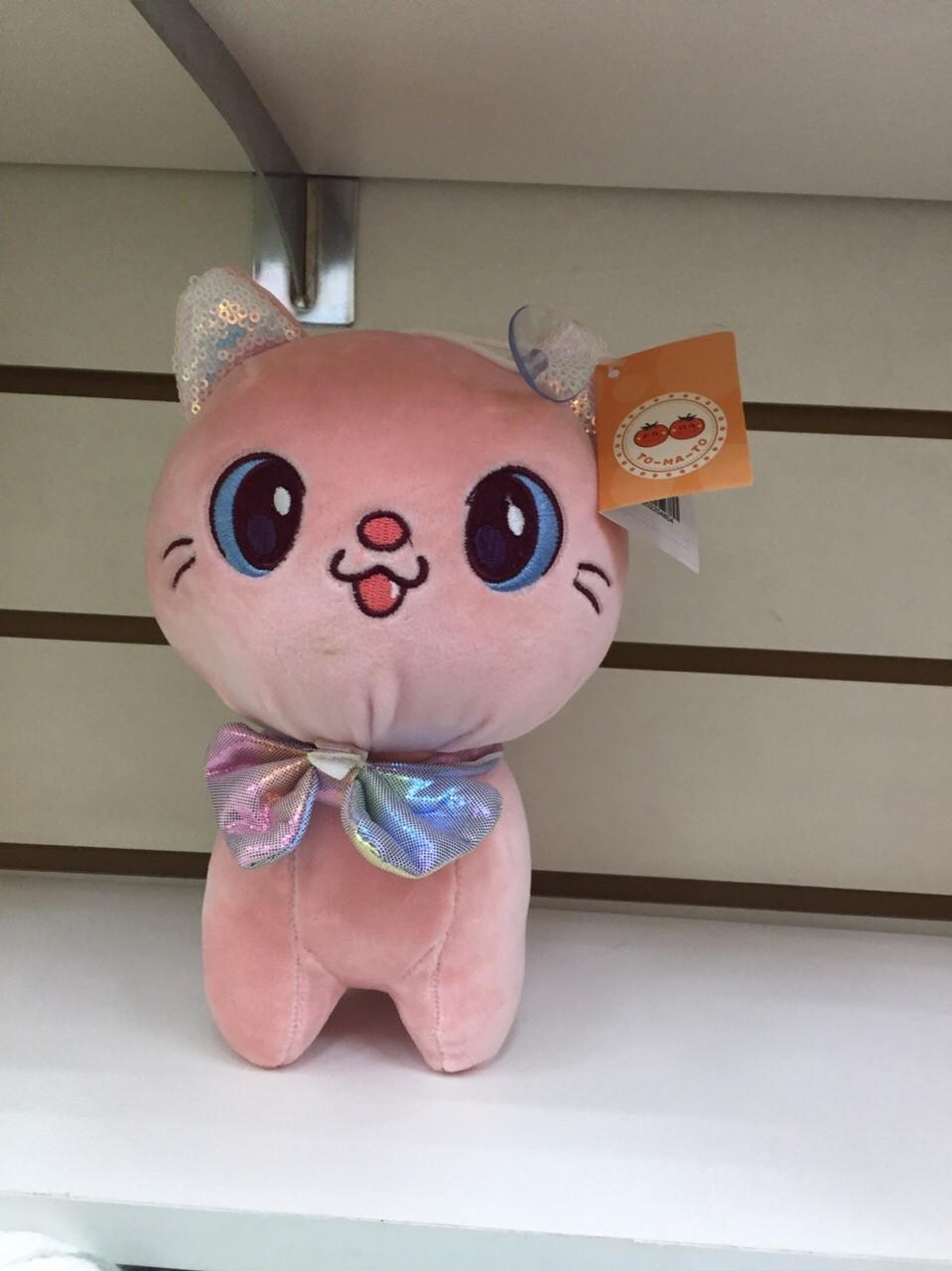 Мягкий котёнок с бантиком в пяти расцветках
