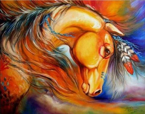 Алмазная Мозаика 40x50 Конь с пером в гриве (арт. GL73109)