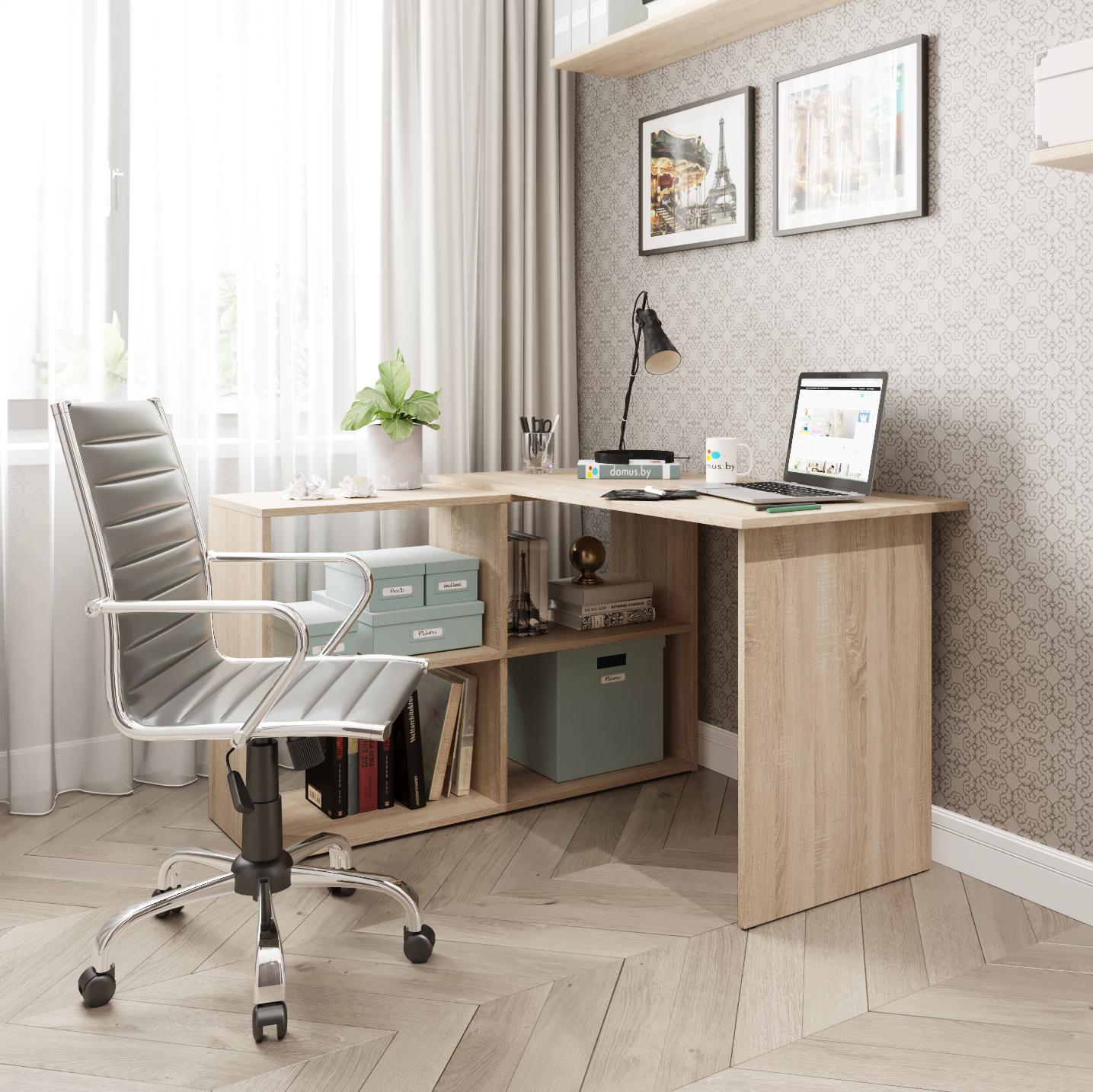 Угловой письменный стол ДОМУС СП016 дуб сонома