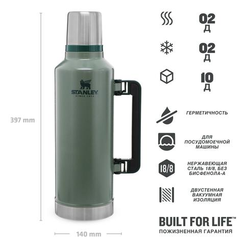 Термос Stanley Classic (2,3 литра), темно-зеленый