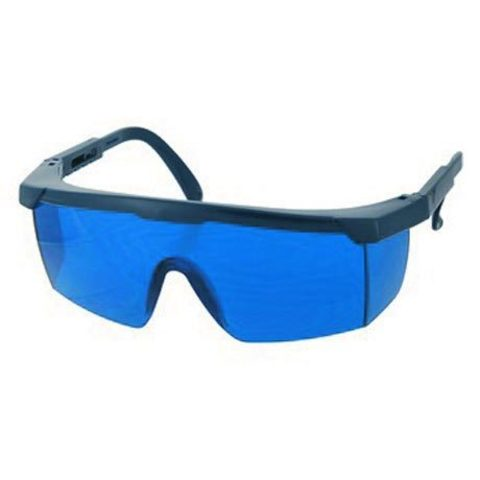 Красные защитные очки в черной оправе для фотоэпиляции