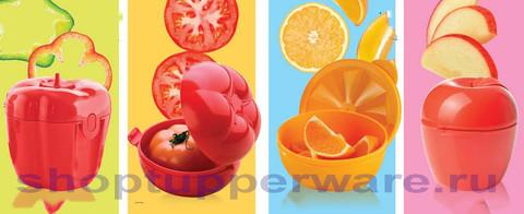 Контейнеры Перец, помидор, апельсин и яблоко