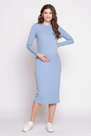 Платье для беременных и кормящих 11392 пыльно-голубой