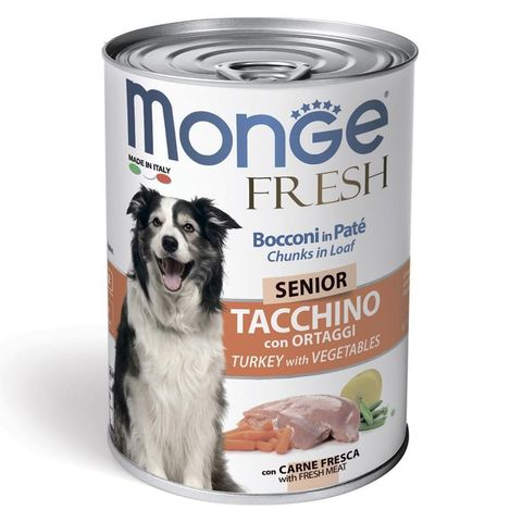 Monge Dog Fresh Chunks in Loaf Консервы для пожилых собак мясной рулет с индейкой и овощами (банка)