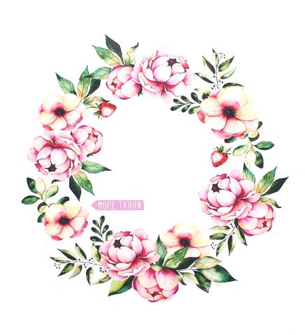 Панель(купон) цветы и клубничка-80*80 см