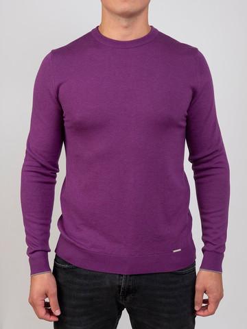 Мужской джемпер фиолетового цвета из шерсти и шелка - фото 1