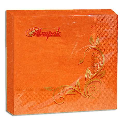 Салфетки 33х33 см оранжевые интенсив двухслойные 20 шт.