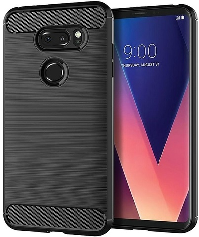 Чехол LG V30, V30+ цвет Black (черный), серия Carbon, Caseport