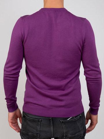 Мужской джемпер фиолетового цвета из шерсти и шелка - фото 2