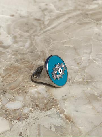 Кольцо-печатка Око из серебра с голубой эмалью