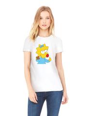 Футболка с принтом мультфильма Симпсоны, Мэгги Симпсон (The Simpsons) белая w0011