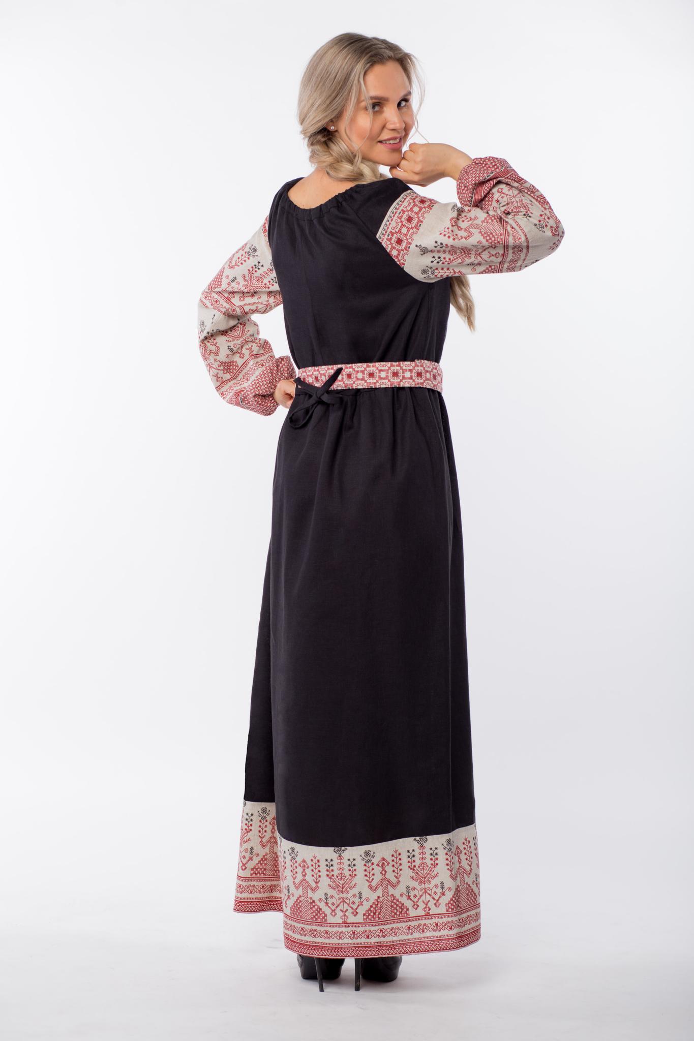 Платье льняное Чистое поле вид сзади