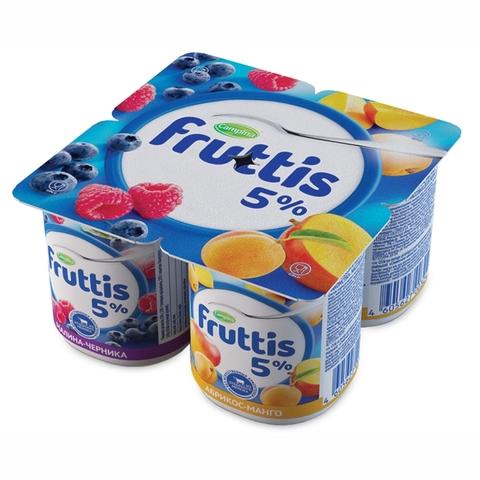 Йогурт FRUTTIS Слив лакомство Малина Черника Абрикос 5% 115 гр Campina РОССИЯ