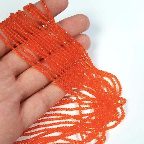 Бусины шпинель (имитация) граненая 2 мм цвет оранжевый цена за 185 бусин (~37 см)