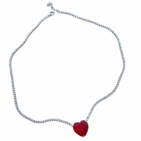70540 - Колье подвеска из серебра с рубиновым цирконом огранки сердце
