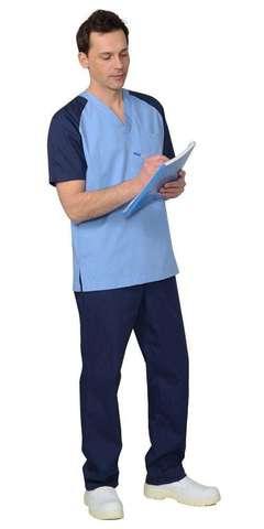 Костюм  мужской: куртка, брюки, тёмно-синий с голубым