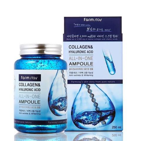 FarmStay Многофункциональная сыворотка с коллагеном и гиалуроновой кислотой All In One Collagen and Hyaluronic Ampoule 250 мл.