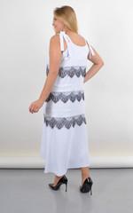 Енола. Плаття-сарафан великого розміру з мереживом. Білий.