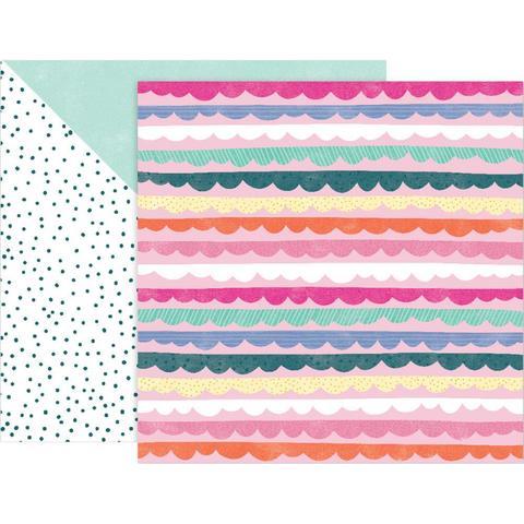 Лист двусторонней бумаги 30х30см Double-Sided Cardstock  - коллекция Oh My Heart- Pink Paislee
