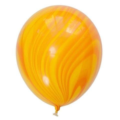 Шары супер агат, желто-оранжевые, 28 см