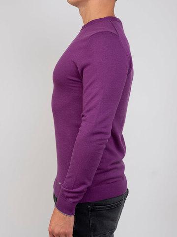 Мужской джемпер фиолетового цвета из шерсти и шелка - фото 4
