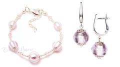 Комплект Примавера серебристо-розовый (серьги на серебре, браслет)