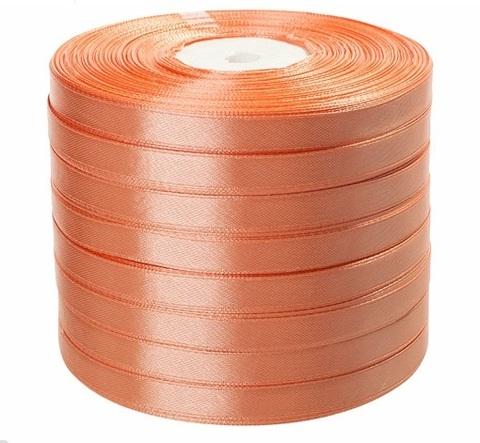 Лента атласная (размер: 10 мм х 50 ярд) Цвет: персиковая